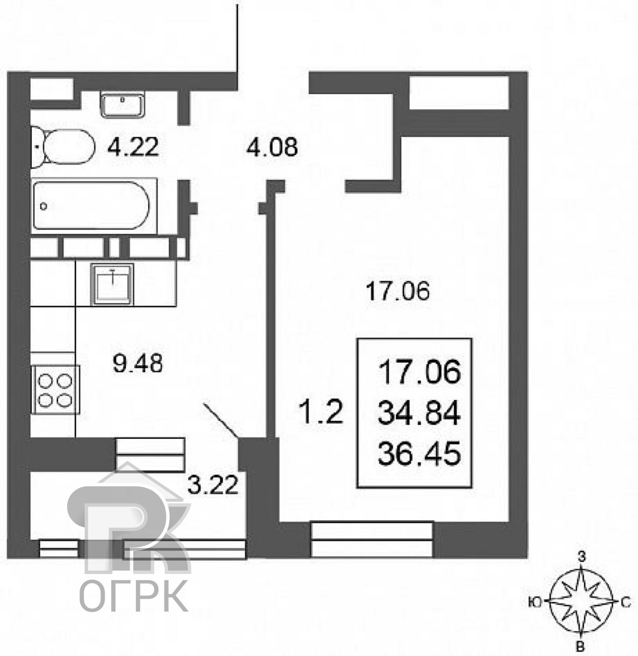 Купить 1-комнатную квартиру, №337629