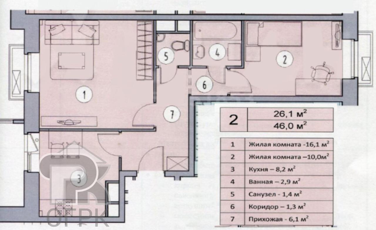 Купить 2-комнатную квартиру, город Видное, Видное, тер ЖК Видный город, район Ленинский, д.4, №318607