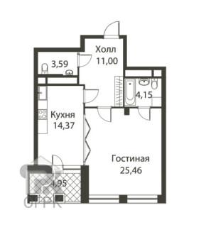Купить 1-комнатную квартиру, город Москва, улица Усачёва, 11И, №309003